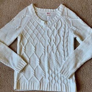 Tops - Cream cable crew neck sweater
